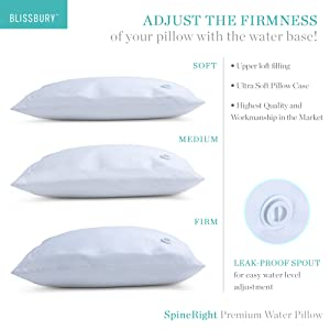 Water Pillow Base adjustable soft medium firm thin thick slim firmness adjustable firma suave