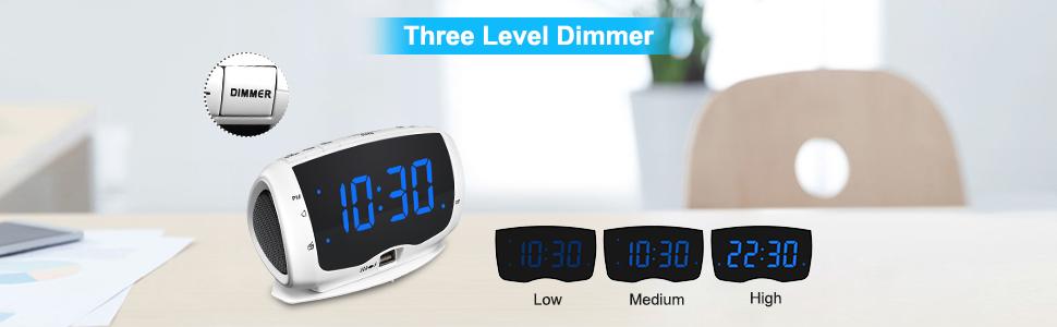 digital clock radio with dimmer