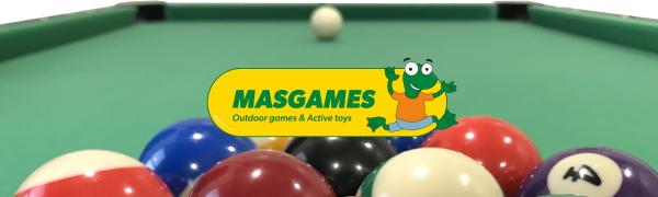 MASGAMES | Billar Masgames Deluxe 6ft | billar más pequeño 183 cm (largo) x 91 cm (ancho) x 79 cm (alto) (Medidas exteriores) | Con retorno de bolas | patas graduables | Accesorios incluidos |: Amazon.es: Juguetes y juegos
