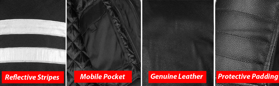Leather Jacket Features Mobile Pockets Zippers
