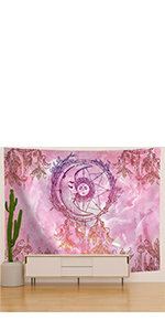 Pink Dreamcatcher Moon Tapestry
