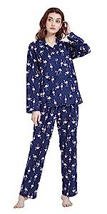 Amaxer Women's Soft Flannel Button Pajamas