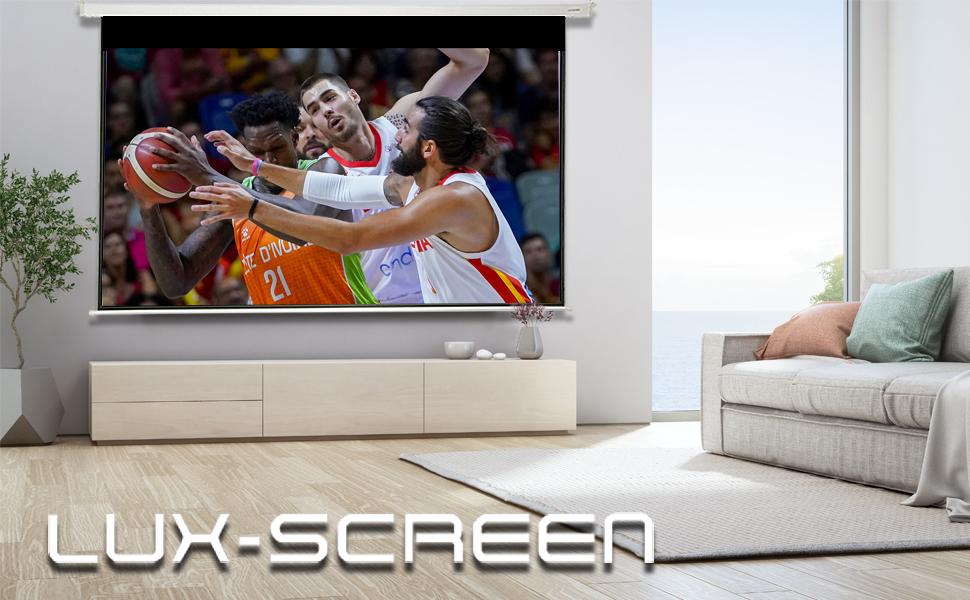 """pantalla para proyector de 180"""" electrica, 4k fullhd, alto brillo, ganancia de contraste, barata"""