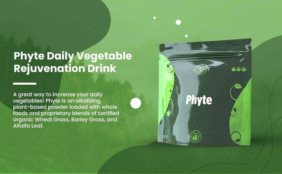 Phyte Daily Vegetable Rejuvenation Drink Organic Wheat Grass Alfalfa Leaf