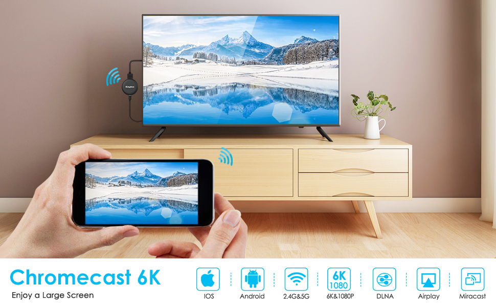 Chromecast de Google, Leelbox 5G/2.4G Miracast Dongle HDMI Inalambrico, 6K WiFi Dsipaly Dongle TV con Airplay/Miracast/DLNA para Android/iPhone/Mac/Windows: Amazon.es: Electrónica