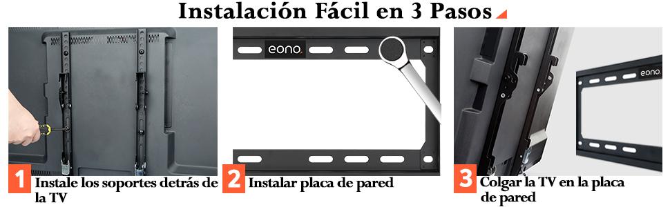 Eono Soporte TV Pared Inclinable Soporte de Televisión para 26 55 Pulgadas VESA 400x400 PL2268-MK