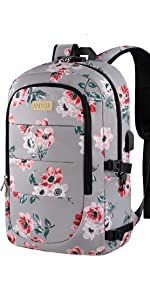 17.3 Inch Anti Theft Laptop Backpack- Grey Pink