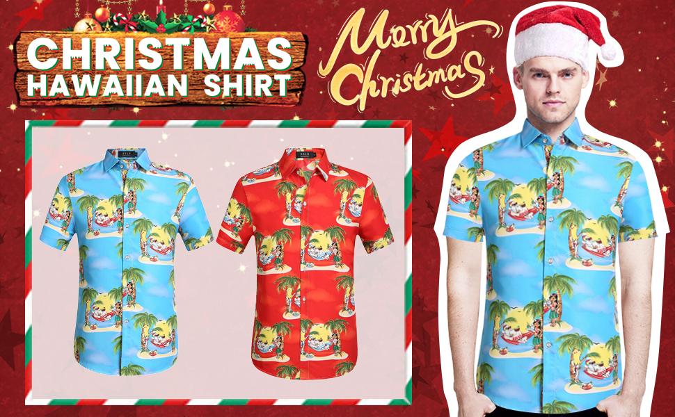 SSLR Camisa Hawaiana Tropical Estampado Navideño Papá Noel 3D Casual Manga Corta para Hombre: Amazon.es: Ropa y accesorios