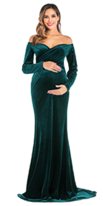 Arbres Short Sleeve Maternity Dress for Photo Shoot Long Maternity Gown Baby Shower Dress Chiffon Flowy Dress