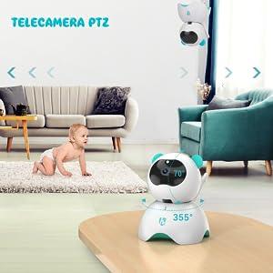 Baby Monitor con LCD HD Schermo da 5 Pollici, Telecamera da Interno con Sensore di Temperatura e VOX, Videosorveglianza Senza Fili con Ninnananna, Audio Bidirezionale, Visione Notturna