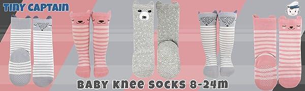 Baby Slipper Socks Toddler Knee High Long Socks Stockings Anti Slip Leg Warmer Walker Novelty Cartoon Socks for 6-24 Months Pack 6