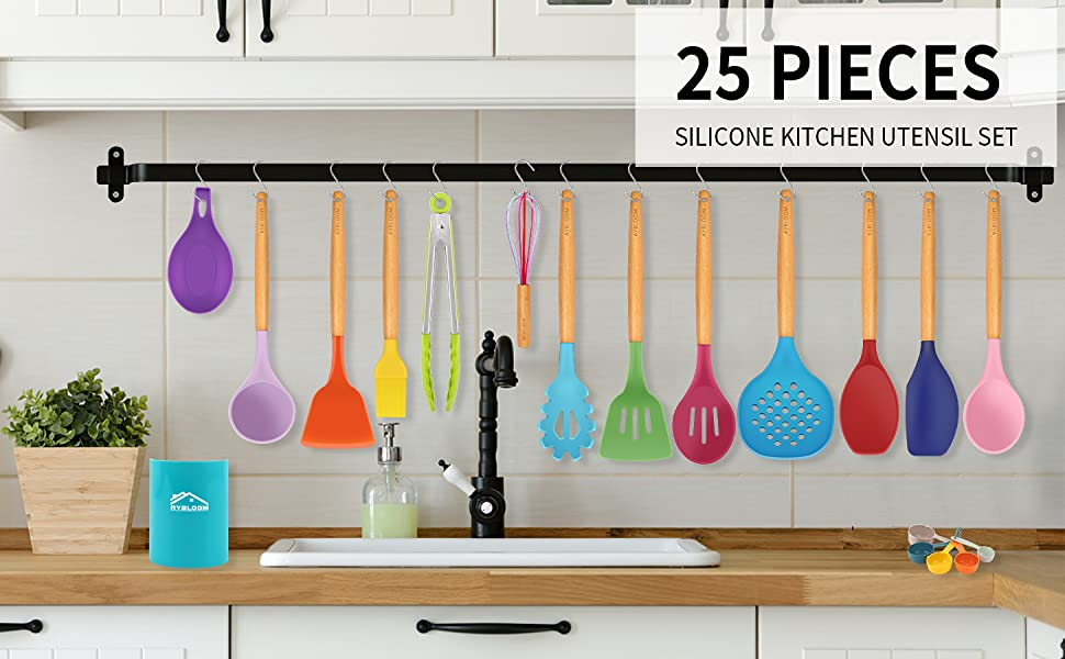 AYBLOOM 25pieces kitchen utensils set will satisfy all your needs for cooking.