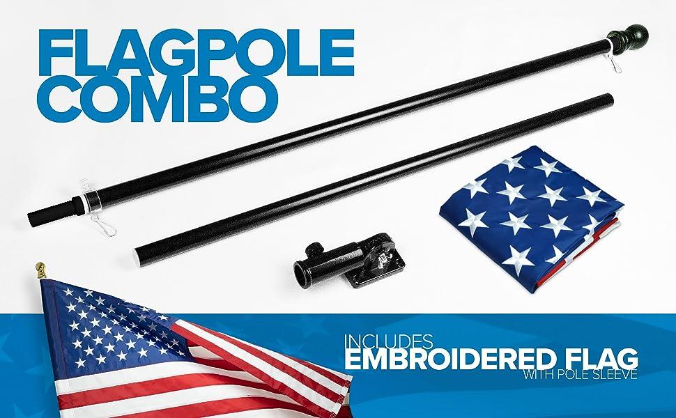 flagpole combo, flagpole, mounting bracket, black, embroidered US flag, 150d, 3x5