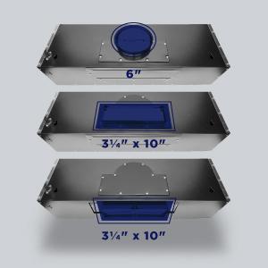 top venting range hood, rear venting range hood, rectangular vent hood, 3 way venting