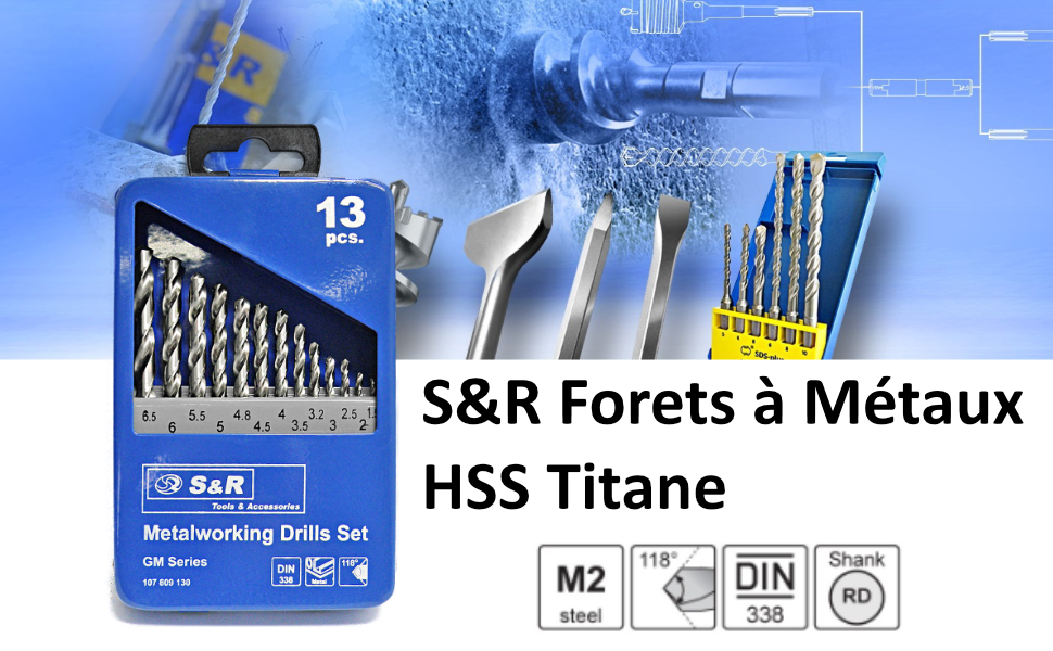 HSS G Titane forets DIN 338//rn Jeu 14 pièces 7,0-10,0x0,5 mm en métal perceuse