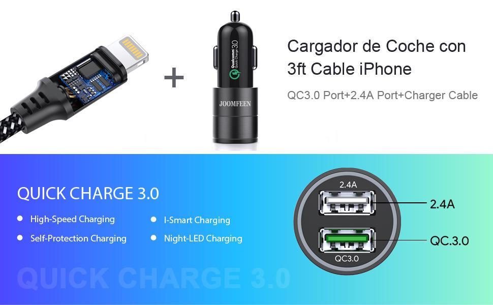 JOOMFEEN Cargador de Coche,Qualcomm Quick Charge 3.0+2.4A 30W Carga Rapida Doble Puertos USB Adaptador Cargador Coche con 3ft Cable para iPhone XS, ...