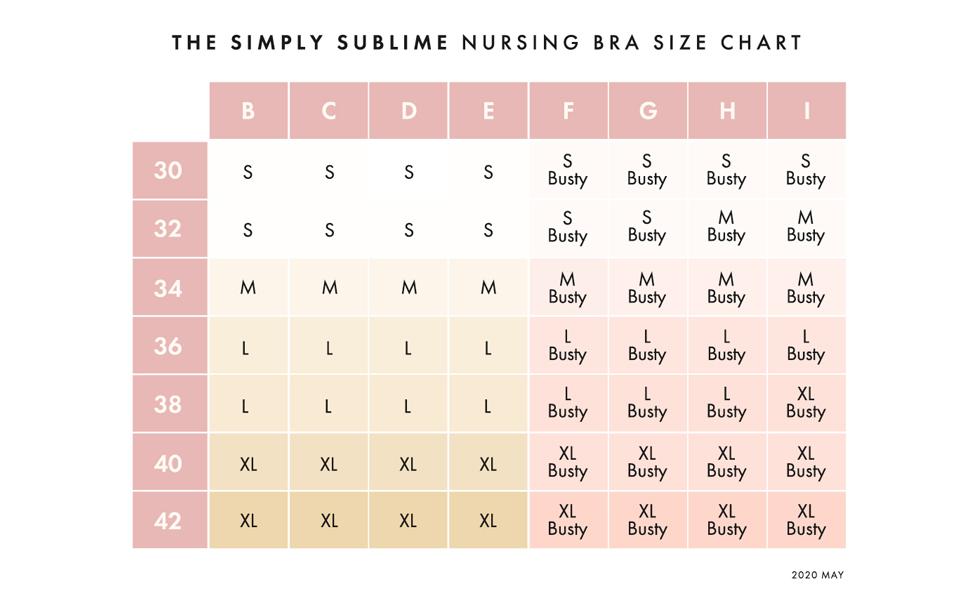 Seamless Nursing Bra Size Chart