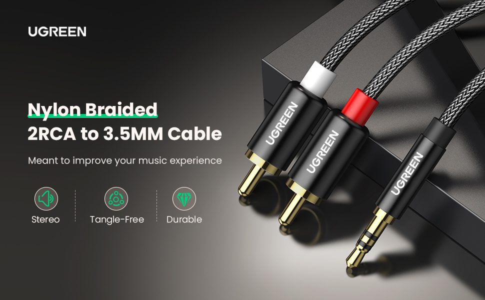 UGREEN 3.5mm to 2RCA Cable Nylon Braided Audio Auxiliary Adapter Stereo