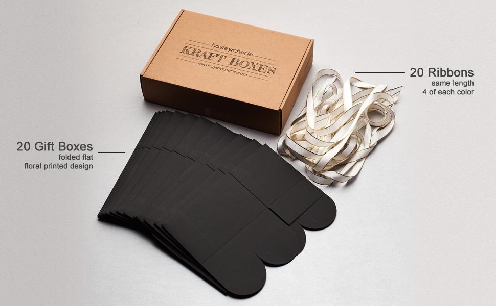 black rectangle box treat white ribbon