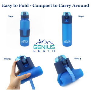 Water Bottle Foldable Easy Fold Compact Portable steps Genius Earth Simple Folding Best Collapsible