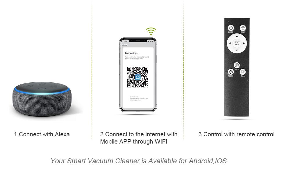 APOSEN Robot Aspirador, 2100Pa Aspirador Robótico Inteligente con Tecnología Sensor de Colisión, WiFi/App/Alexa, 110 min Autonomía y Carga, Ideal para Pelo Mascota, Alfombras y Suelos, A550: Amazon.es: Hogar