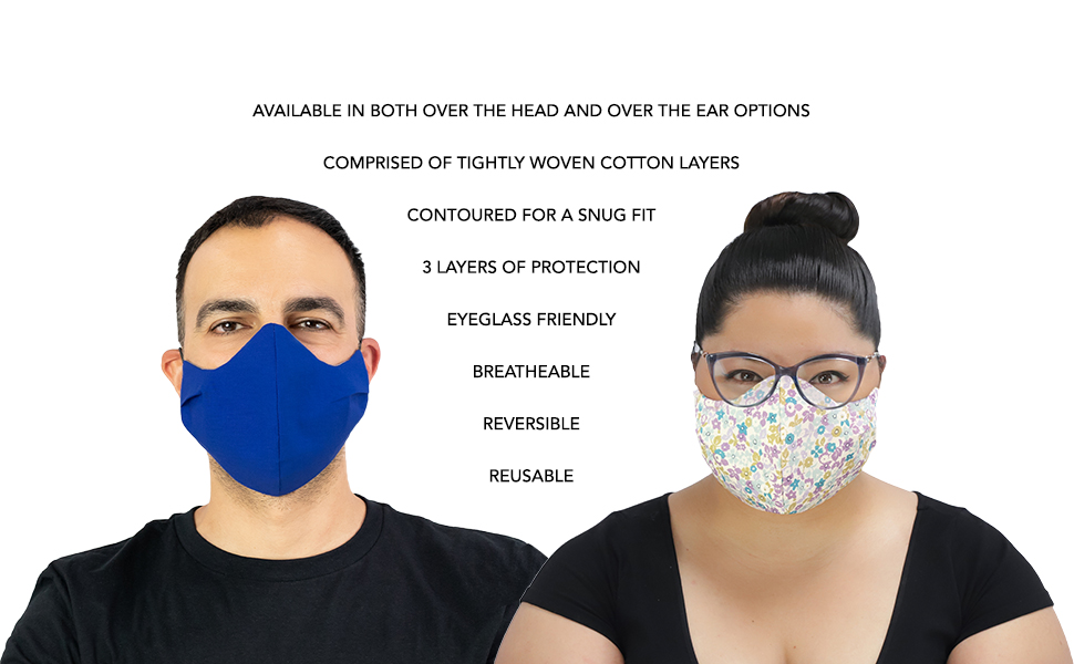 Masker-Aid cloth facemask face mask covering USA reversible reusable breathable snug protection