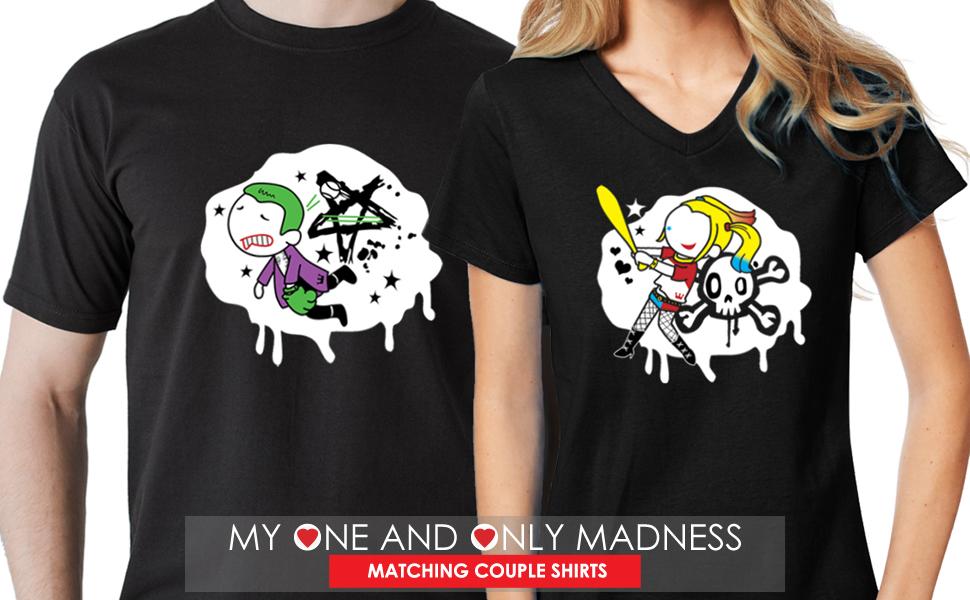 Joker and Harley Quinn Boyfriend and Girlfriend t-shirts with art prints