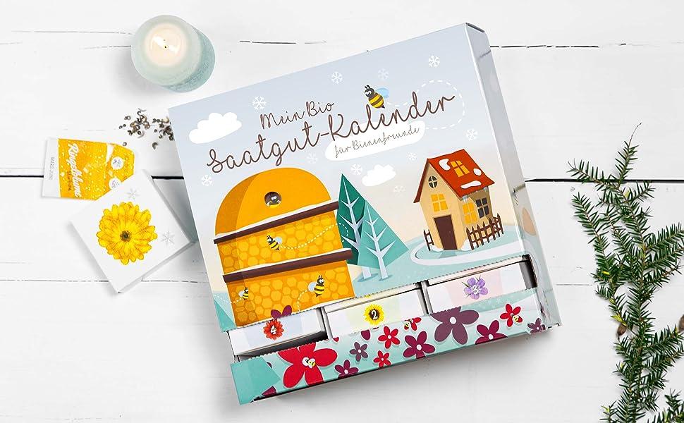 Saatgut Biene Bienenfreund Blumen Kalender Adventskalender Saatgut-Adventskalender
