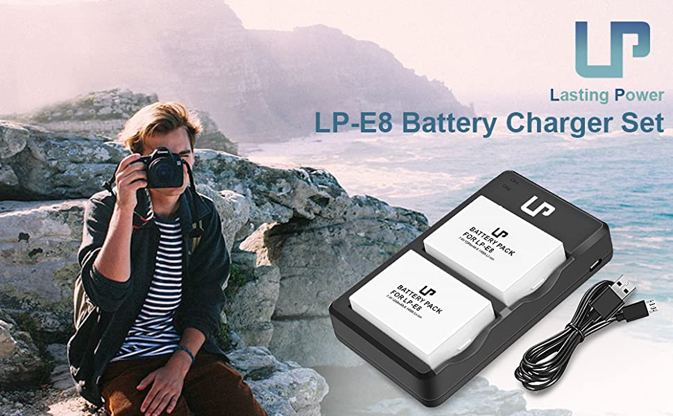 LP LP-E8 Battery Charger Pack, 2-Pack Battery & Dual Slot Charger, Compatible with Canon EOS Rebel T2i, T3i, T4i, T5i, 550D, 600D, 650D, 700D, Kiss ...
