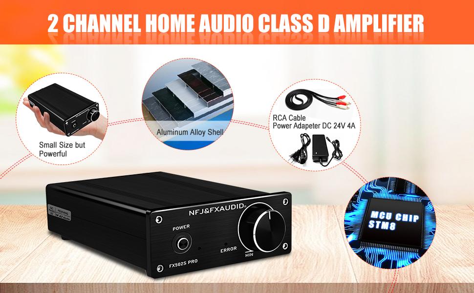 hifi mini home audio 2 channel amplifier