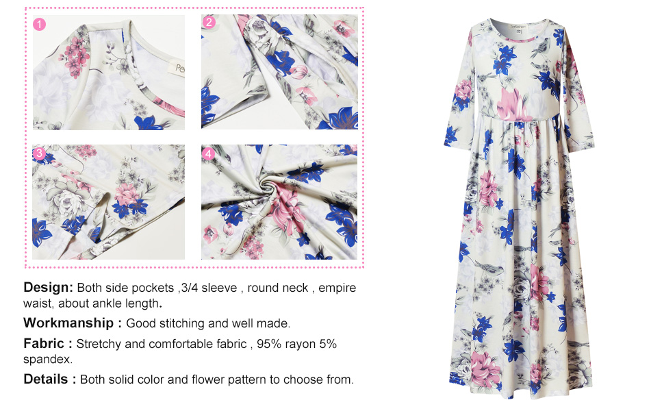 Perfashion Maxi Dress for Girls 3//4 Sleeve Pleated Casual Print Boho Floral Cotton Beach Long Dress with Pockets
