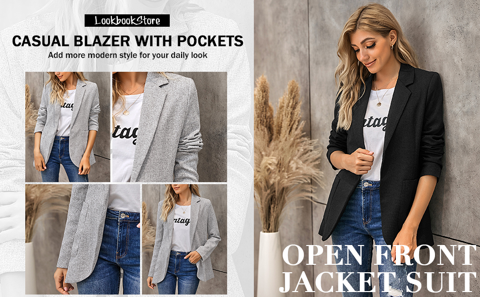 women's casual open front blazer work office business jacket suit notched lapel v neck outerwear