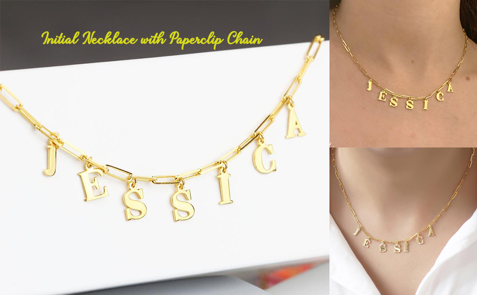 Paperclip Chain Initial necklace