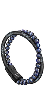 Blue Bead Leather Bracelet
