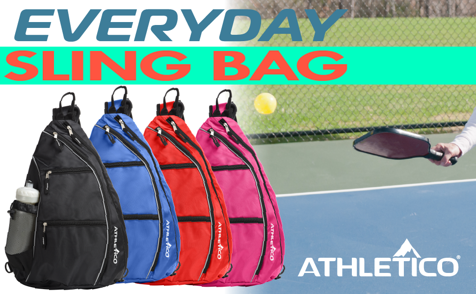 Athletico Everyday Sling Bag in black, blue, red, or pink for travel, commute, tennis, racketball