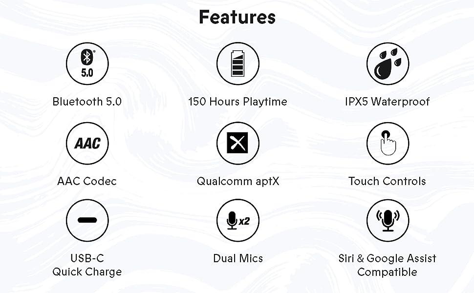 bluetooth 5.0, transparent audio, water-resistant, AAC codec, USB-C, siri, google assist, music,
