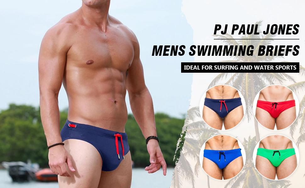 PJ PAUL JONES Mens Swimwear Bikini Briefs Swimming Trunks Pad Swimsuits Surf Shorts