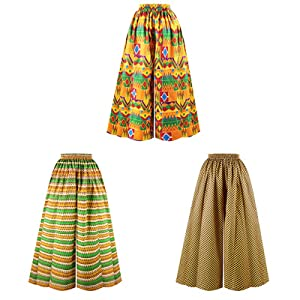 Jascaela Womens Wide Leg African Floral Printed Casual Loose Pants High Waist Palazzo Trousers
