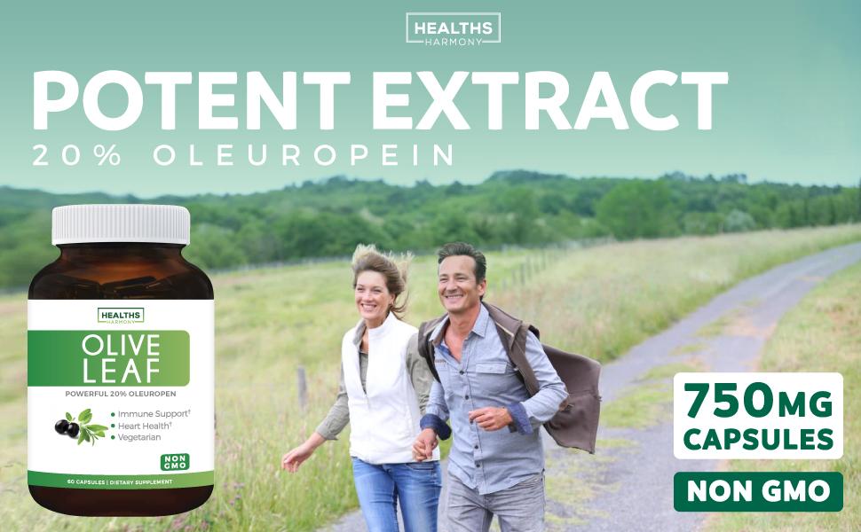 Olive Leaf Extract 750mg - 20% Oleuropein - Vegetarian - Non GMO - Cardiovascular Health - Immune