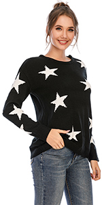 shermie Women's Pullover Sweaters Long Sleeve Crewneck Star Graphic Knitted Sweaters