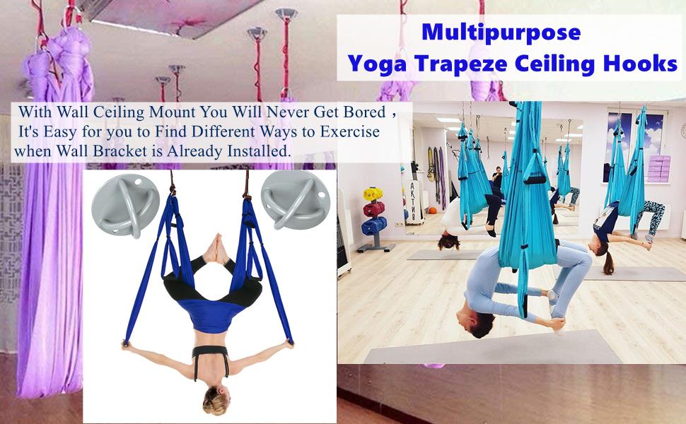 Zerich Soporte de pared de suspensión, Anclaje de techo soporte de suspensión para correas de suspensión, anillos de gimnasia, columpios de yoga y ...