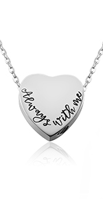 heart urn necklace for him or her