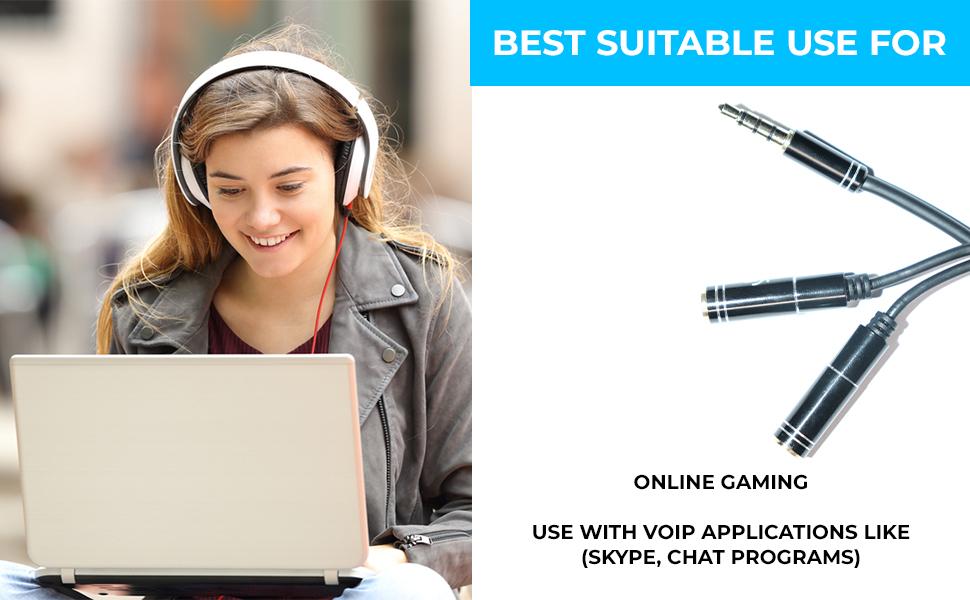 splitter y headphone splitter headphone earphone mic audio y splitter cable cord wire for pc laptop
