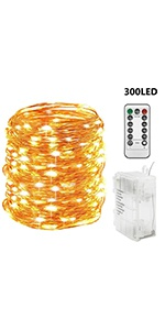 300 LED 99 FT Copper Wire String Lights Battery Operated Waterproof with Remote