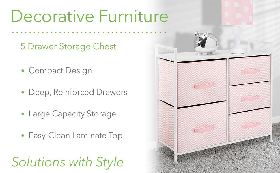 Decorative Furniture Vertical 5 Drawer Storage Chest