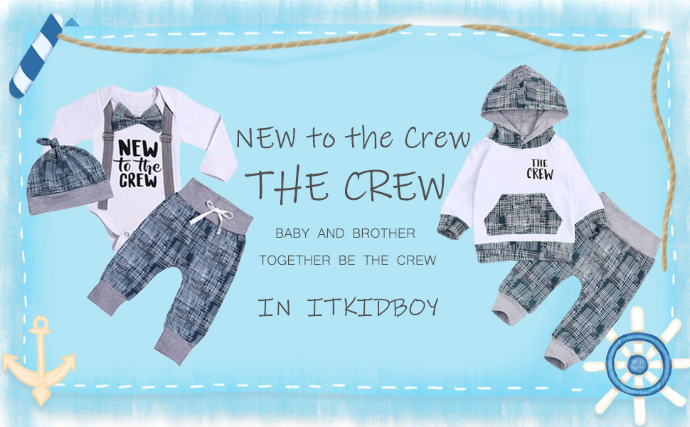 itkidboy The Crew Sweatshirt & New to The Crew Long Sleeve Romper Pants Matching Outfit Set
