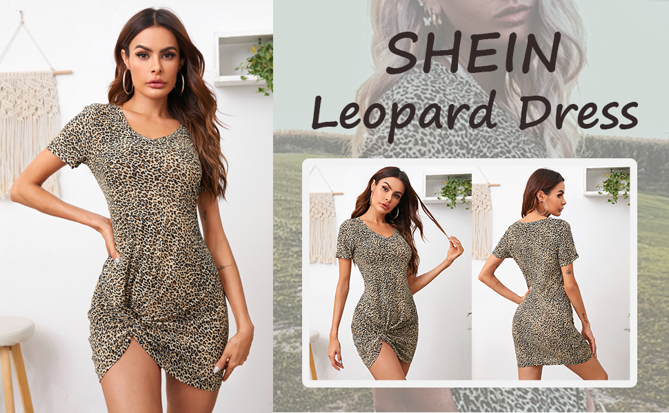 shein short sleeve leopard mini dress