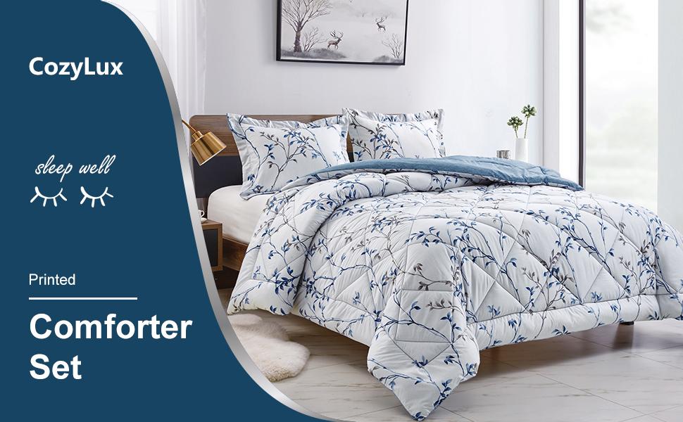CozyLux Reversible Printed Comforter Set with Pattern Lightweight Down Alternative Duvet Insert