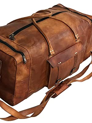 leather duffel luggage gym travel tote holdall bag