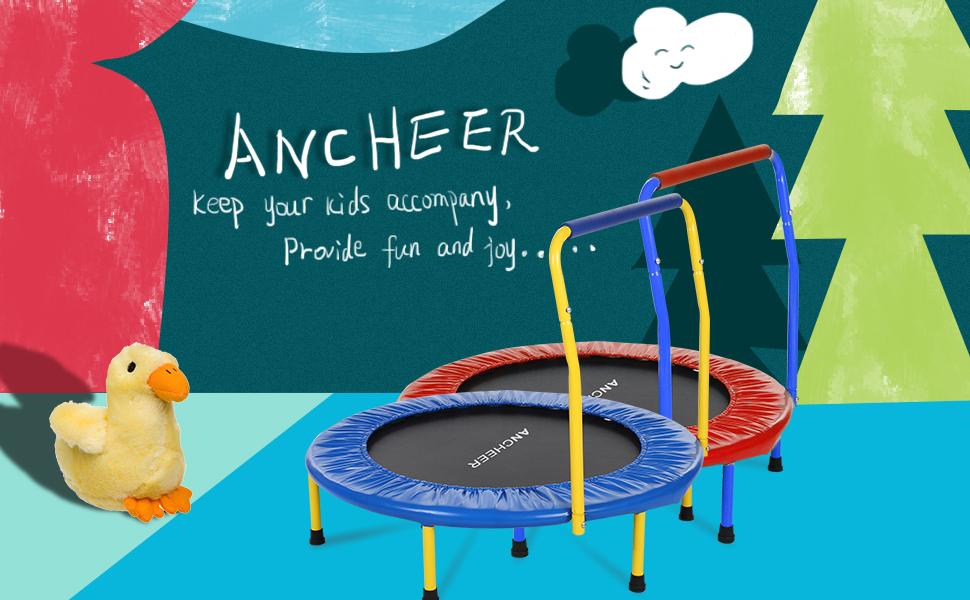 Ancheer 36 Inch Trampoline with Handle Bar Specially Design for Kids
